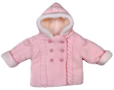 Baby Girls  Pram Coat Jacket Cardigan Chunky Double Knit 6-9 Months