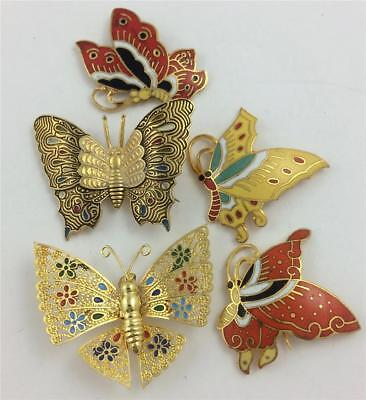 5 Vintage Colorful Enamel Gold Tone BUTTERFLY Pins Lot