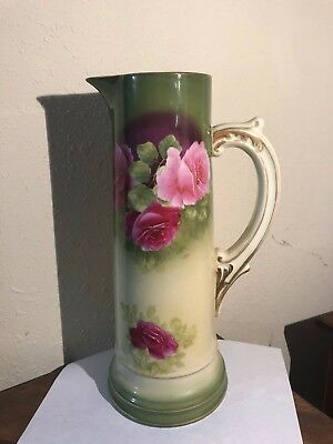 "Antique Porcelain 13.5"" Tall Water Pitcher PT Germany Tettau Cabbage Roses"