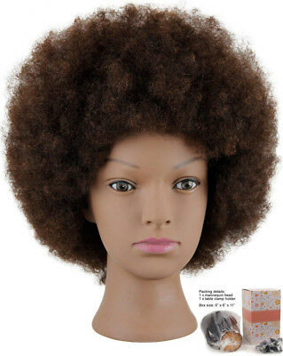 Mannequin Head African American with 100% Human Hair Cosmetology Afro Hair