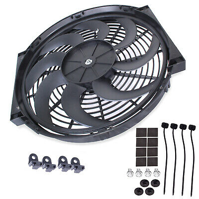 "16"" Universal Curved 12V Radiator Intercooler Electric Push Pull Cooling Fan"