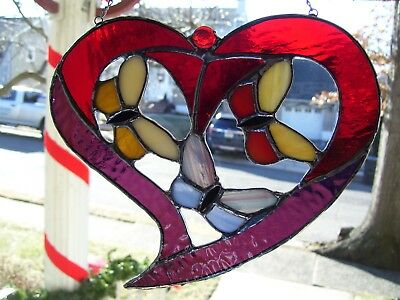 Stained Glass Butterflies in a Heart Sun catcher (Real Glass)