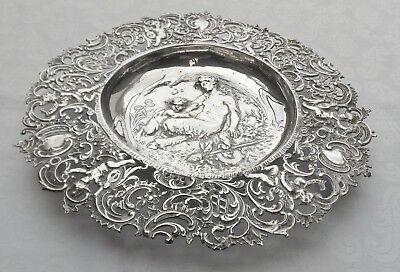800 Continental Silver Decorative Dish With Woman, Child & Cherub Decoration