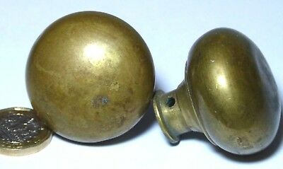 Old Pair Victorian Antique Brass Door Handles Knobs 41 Mm Diameter