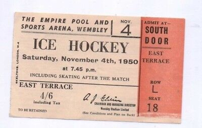 1950 Ice Hockey ticket from the Empire Pool & Sports Arena Wembley