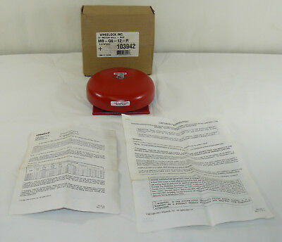 "New Other Wheelock Inc. 6"" Motor Bell Red MB-G6-12-R 12VDC 103942 Fire Alarm"