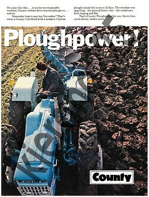 A3 Vintage County Tractor 1124 PloughPower Advertising Brochure Poster VERY RARE