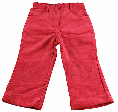JACADI Girl's Agiter Lacquered Red Floral Cotton Velour Pants Sz 8 Years NWT