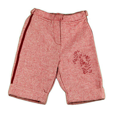 JACADI Girl's Agave Bright Red/ White 3/4 Dress Pants Size 5 Years NWT