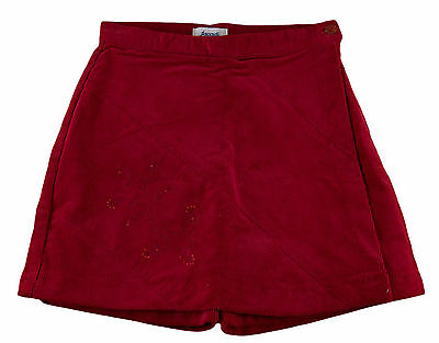 JACADI Girl's Agir Lacquered Red Corduroy Skirt Shorts Size 2 Years NWT