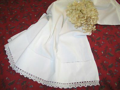 French Country Antique Vintage Victorian Pillowcase Hand Tatted Lace-Embroidery