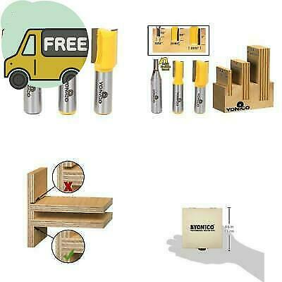 Yonico 14323 3 Plywood Dado Router Bits for 3//4-Inch 1//2-Inch and 1//4-Inch Plywood 1//2-Inch Shank