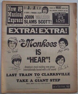 """Vintage """"NEW MUSICAL EXPRESS"""" NME 21/10/1966. Monkees; Troggs; Four Tops; Herman"""