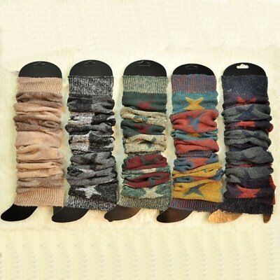 Women Winter Warm Thick Leg Warmers Patchwork Knit High Long Socks Leggings WQ