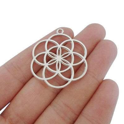 10pcs Antique Silver Tone Flower of Life Charms Pendants 2 Sided 37x31mm