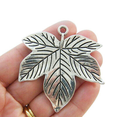 5Pcs Antique Silver Big Large Maple leaf Charms Pendants for Jewellery Making