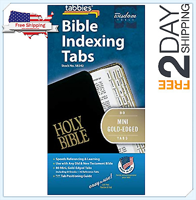 Gold-Edged Bible Indexing Tabs, Old & New Testament, 80 Tabs Including 64 Books