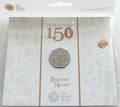 2016 Royal Mint Beatrix Potter Squirrel Nutkin 50p Fifty Pence Coin Pack Sealed
