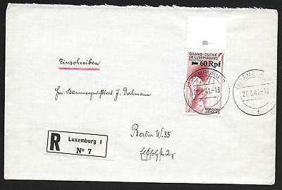 German Occupation Luxembourg covers 1941 R-cover to Berlin