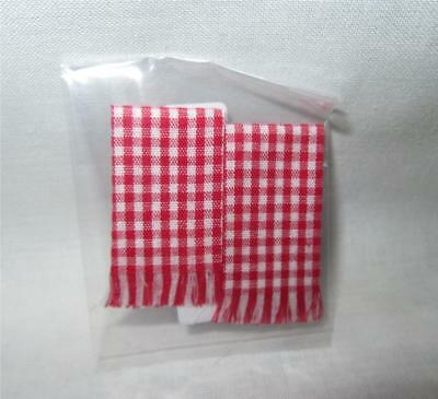 K1510R MINIATURE DOLLHOUSE 1:12 SCALE PAIR RED CHECK KITCHEN TOWELS