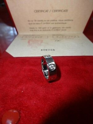 5b7087a46b38e AUTHENTIC CARTIER LOVE Wedding Band/Ring in Platinum w/diamond Size 49/4.75