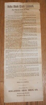 c1905 Antique Quack Medicine Advertising Pamphlet Holko Black Cross Liniment