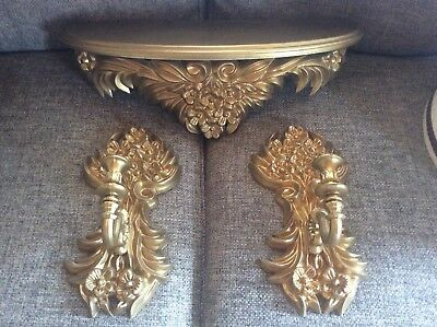 Vtg MCM  Syroco Style Dart Gold Candle Sconces wall Shelf Hollywood Regency Dart