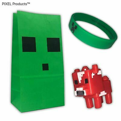 MINECRAFT Party Bag + 2 fillers, Favours, supplies Wristband, Minifigure Slime