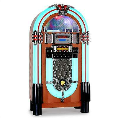 Jukebox Rock Ola Plattenspieler UKW Radio LED Musikbox AUX USB SD CD Player SD