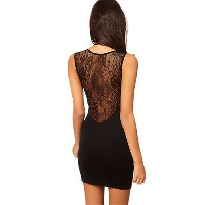 Hot Sexy Women Lace Mini Dress Cocktail Black Hollow out Skirt Clubwear WQ