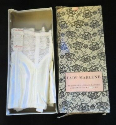 vintage Lady Marlene waist cincher white size 26 NOS NEW with tag original box