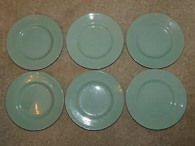 WOODS WARE BERYL GREEN SIDE TEA PLATES x 6 c1940's RIBBED BORDER