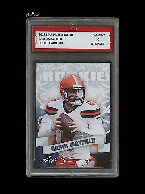 Baker Mayfield 2018    18 Leaf Prized Rookie Card 1St Graded 10 Cleveland  Browns 3be763966
