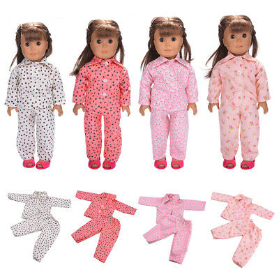 4Pcs Doll Pajamas Clothes Set for 18 inch AG American Doll Dolls Dress Up