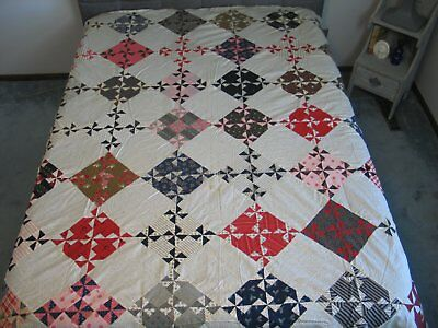 Antique PINWHEEL variation Quilt Top-Primitive early 1900s cotton shirtings