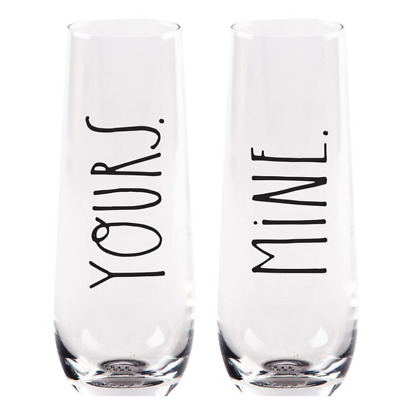 NEW Rae Dunn Clear Glass Stemless Champagne Flutes 10 oz HIS HERS Set of 2