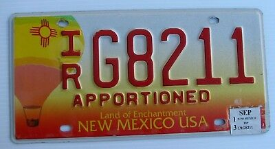 """New Mexico Apportioned License Plate """" Ir G 8211 """" Nm Semi Pro Rate Tractor Irp"""