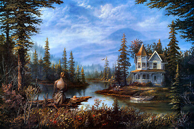Art Giclee Print Lakeside House Scenery Oil Painting Hd Printed on Canvas P1118