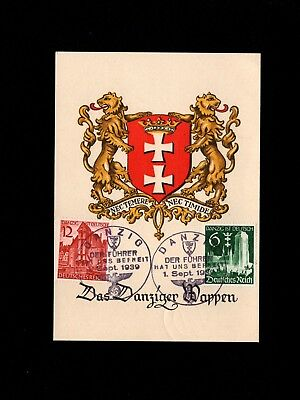 Germany Danzig Coat of Arms ONE DAY ONLY Hitler Freed Us Cancel on Stamp Set 3i