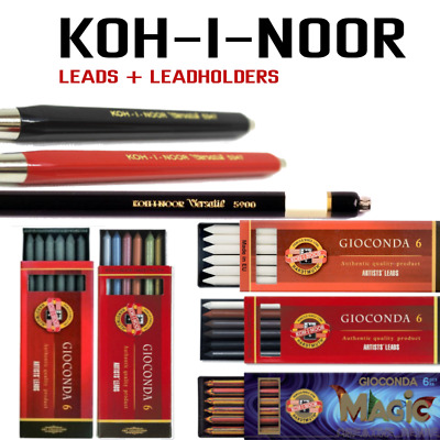 KOH-I-NOOR MECHANICAL PENCIL 2mm 5.6mm LEADS 6B SEPIA METALLIC MIX RUBBERS
