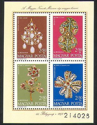 Hungary 1973 Gems/Gold/Jewellery/Treasures/Pendant/Brooch/Stamp Day m/s (n36736)