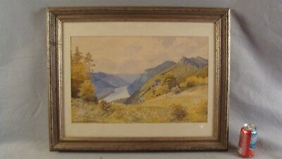 Antique Hans Kober Austrian Mountain River Landscape Painting