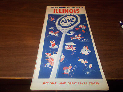 1952 Pure Oil Illinois Vintage Road Map / 52-A