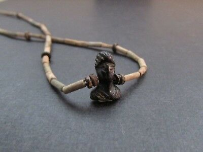 NILE  Ancient Egyptian Face Amulet Mummy Bead Necklace ca 300 BC