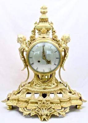 Huge XXL Quality Antique French 19th c Gilt Bronze Striking Mantle Clock S.Marti