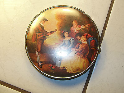 Old larger golden trim Victorian themed double sided compact mirror