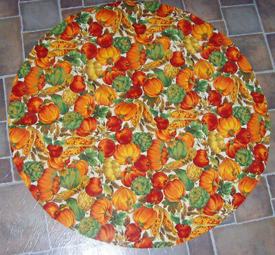 Fall autumn round fabric tablecloth pumpkins artichokes corn and table runner