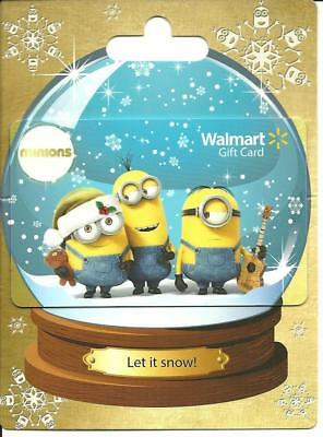 Walmart Minions Snow Globe Gift Card No $ Value Collectible on Backer