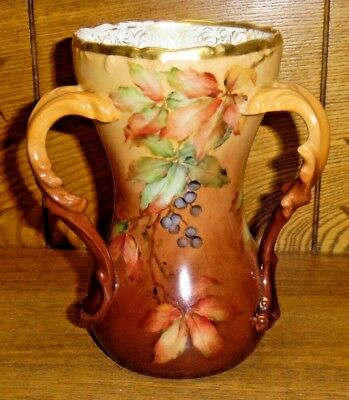 Antique Tressemanes & Vogt T&V Limoges France Painted 3 Handle Porcelain Vase