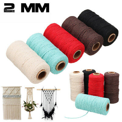 Thread Braided Cotton Rope Crafts Macrame Cord String Twisted 2mm 100 Yards